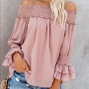 Blooming Jelly Women's Off Shoulder Chiffon Blouse